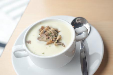 table wood: Mushroom soup on wood table