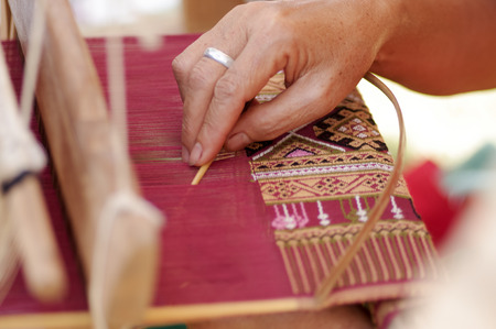 Traditional Hands weaving in Thailand Stock Photo