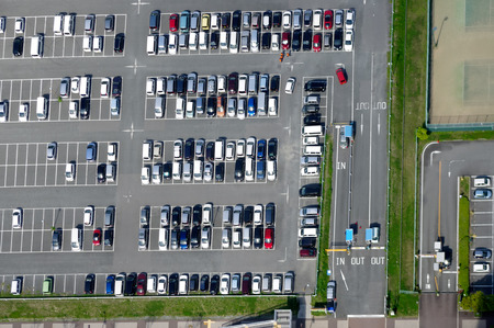 park: Aerial view of a parking lot with many cars Stock Photo
