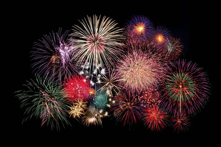 fun day: fireworks isolated on Black Stock Photo