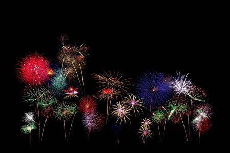 flower fireworks isolated on Black