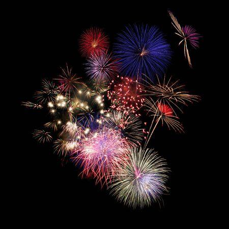 fireworks isolated on Black Foto de archivo