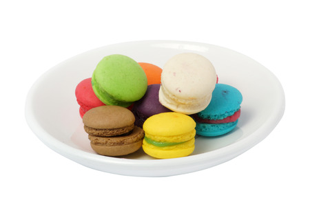 Colorful macarons isolated on white Foto de archivo