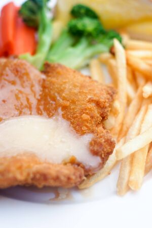 Selective focus of fish and chips