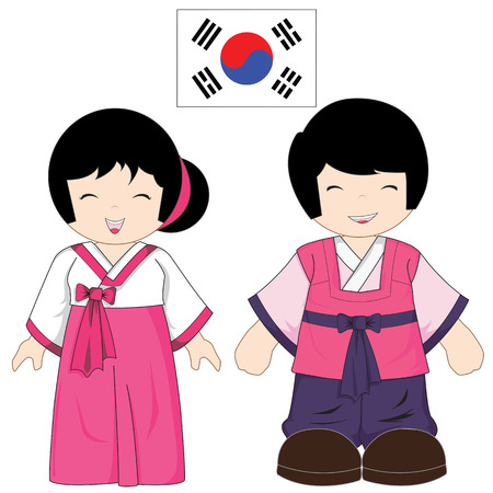 korean national: South Korea traditional costume on white background
