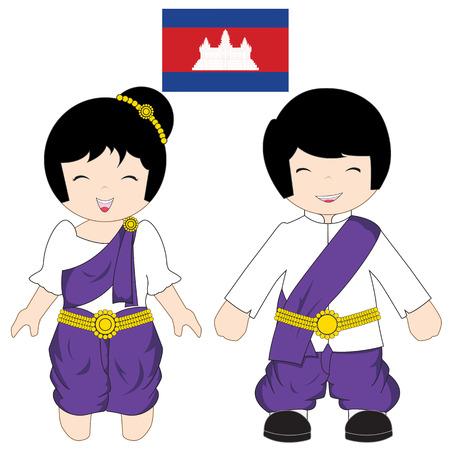 khmer: Cambodia traditional costume on white background