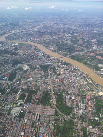 eye: Bird eye view of ChaoPraYa river in Thailand. Stock Photo