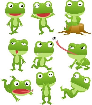 лягушка: Смешные коллекции мультфильмов лягушка Иллюстрация