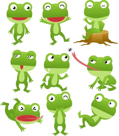 Funny frog cartoon collection Vector