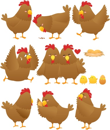 Funny Chicken cartoon collection Vector