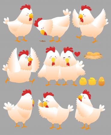 Funny Chicken cartoon collection 2 Stock Illustratie