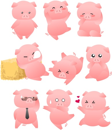 Funny Pig cartoon collection Vector