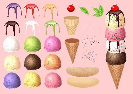 ice cream scoop: Make Ice cream by your design - collection 1  Illustration