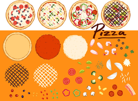 Make pizza by your design - collection 1 Stock Vector - 36152619