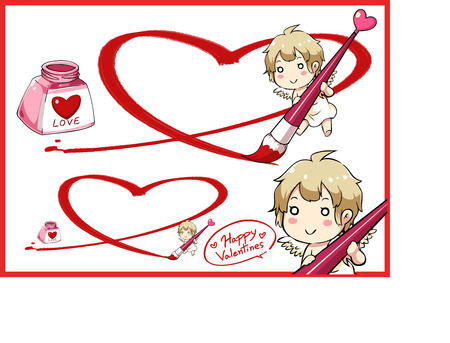 Valentine Day and cupid draw big heart with red ink . Vector illustration. Illustration