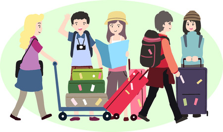 Young with a travel bag. Vector illustration