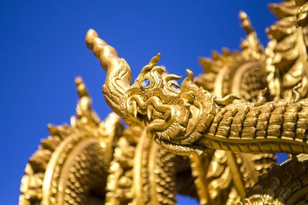 ton: Dragon sculpture at entrance to temple Sri Pan Ton, Province Nan, Thailand Stock Photo
