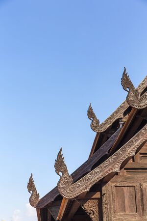 Gable and roof temple made form wood, Thailand