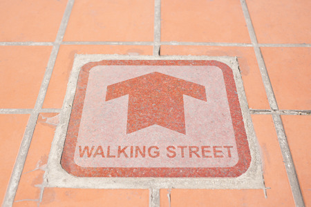 marking: Walking street with road marking Stock Photo