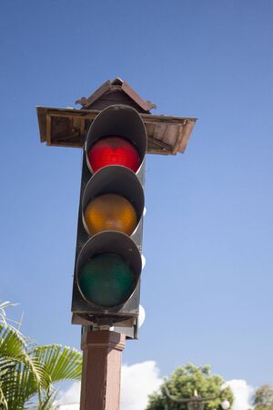 standstill: image of traffic light the red light is lit. symbolic for holding. Stock Photo