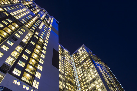 city people: night time of condominium life of City people in modern town Stock Photo