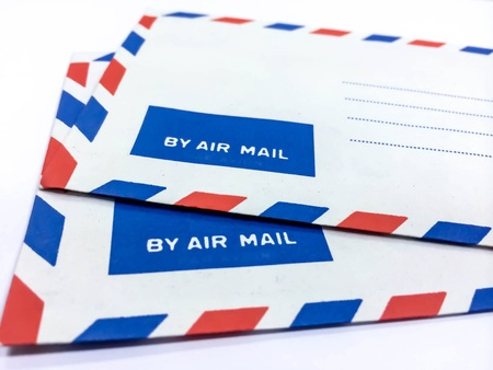 by mail: vintage air mail envelope Stock Photo