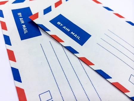 deadpan: vintage air mail envelope Stock Photo