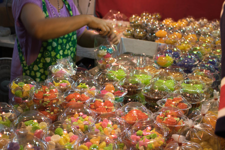 Thai desserts are uniquely sweet, colorful, delicious, suitable for all ages. Stock Photo