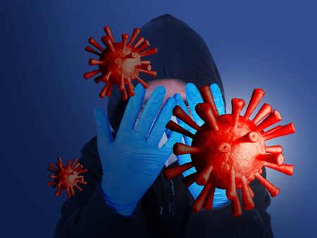 Man was defending himself and fighting the corona virus (Covid-19) and other diseases by wearing gloves and wearing a hygiene mask.