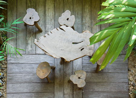 table top: Natural wooden table set, top view