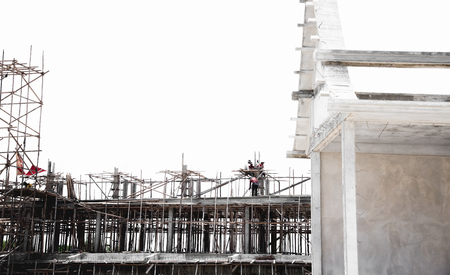 rickety: Wooden scaffolding in Thai temple construction site Stock Photo