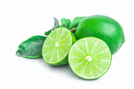 plural number: Thai lemon and green leaves isolated on white
