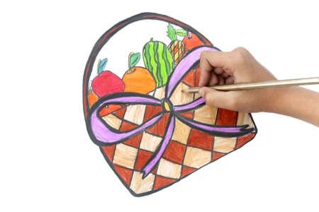 fruitmand: Het tekenen van een fruitmand op witte achtergrond Stockfoto