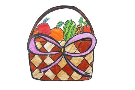 fruitmand: fruitmand op witte achtergrond Stockfoto