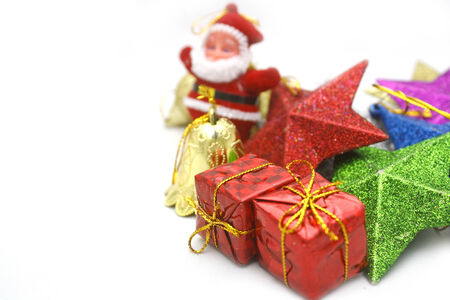 reb: Christmas background with the ornament,red gift box.