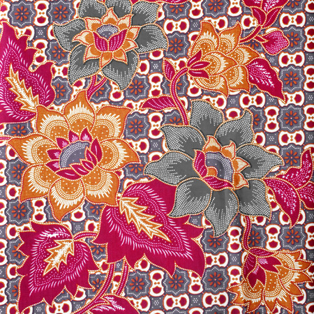 batik pattern: Seamless background beautiful batik, detail of pattern fabric of cloth