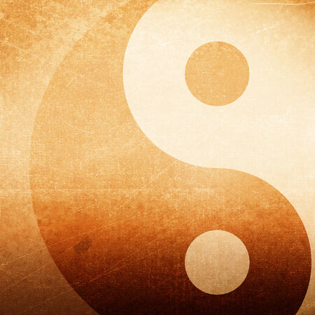 Abstract grunge background with yin yang symbol, brown grunge background photo