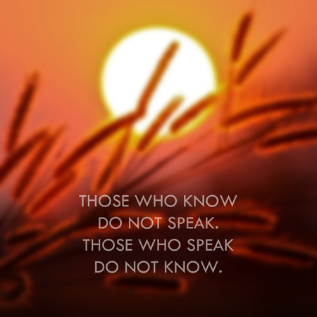 lao: Inspirational Motivational Life Quote by Lao Tzu ancient Chinese philosopher on Sunset Background. Stock Photo