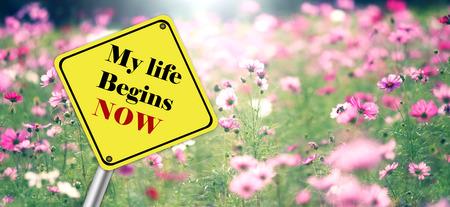 Inspirational Motivational Life Quote on Flowers Background Design. Reklamní fotografie
