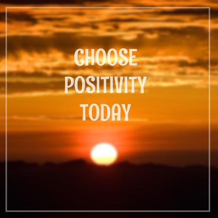 Inspirational Motivational Life Quote on Sunrise Blurred Background Design. Foto de archivo