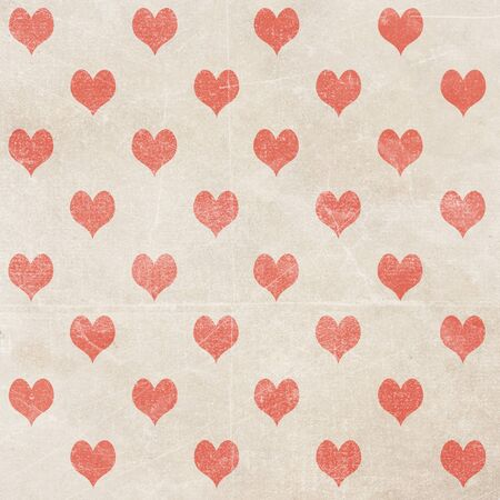 romatic: heart pattern on vintage paper texture. Valines day background.
