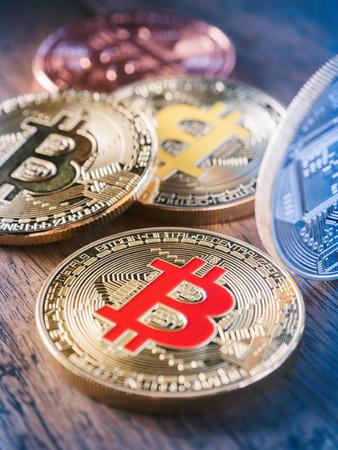 Bitcoin coin business concept. Bitcoin cryptocurrency. Bitcoin coin electronic money model.