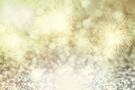Fireworks night light abstract background for Christmas and New Year season. Beautiful fireworks for holiday celebration. Stock Photo