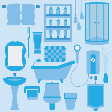 set of furniture in bathroom Vector