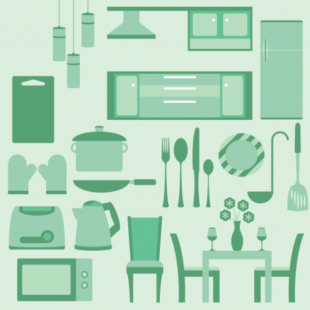 set of furniture in kitchenroom Vector