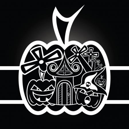 haunt:  scary halloween on black  Illustration
