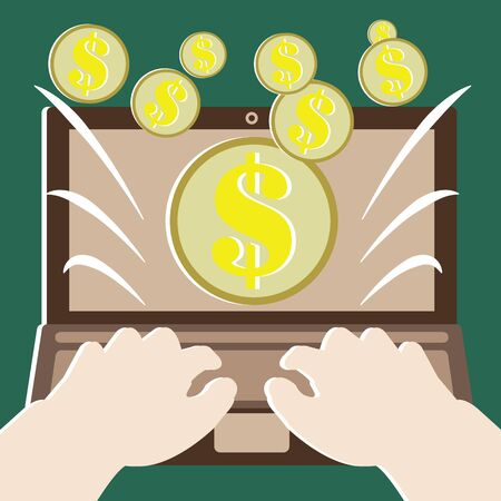 Money concepts with make money by computer Vector