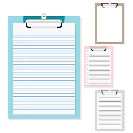 clipboard isolated: Set of plastic clipboard with paper on isolated white background