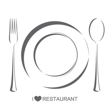 レストラン 1、プレートのフォーク スプーンで分離ホワイト バック グラウンド