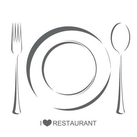 Restaurant 1, plate fork spoon on isolate white background Illustration